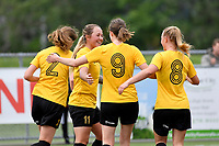 Kaley Ward of Capital celebrates a goal with team mates during the Handa Women's Premiership - Capital Football v Southern United at Petone Memorial Park, Wellington on Saturday 7 November 2020.<br /> Copyright photo: Masanori Udagawa /  www.photosport.nz