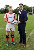 Ulster Rugby Schools 2018-2019<br /> <br /> Ballymena Academy player Ross McKay with Danske Bank representative Ian Russell.<br /> <br /> Photo by John Dickson / DICKSONDIGITAL
