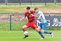 Mathis Sturbaut (15) of Belgium pictured with Ethan Amundsen-Day (5) of Norway in action during a soccer game between the national teams Under17 Youth teams of  Norway and Belgium on day 3 in the Qualifying round in group 3 on Tuesday 12 th of October 2020  in Tubize , Belgium . PHOTO SPORTPIX | DAVID CATRY