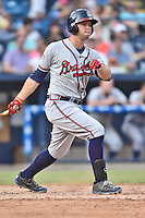 Rome Braves designated hitter Braxton Davidson (24) swings at a pitch during a game against the Asheville Tourists on July 25, 2015 in Asheville, North Carolina. The Braves defeated the Tourists 3-2. (Tony Farlow/Four Seam Images)