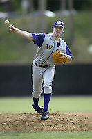 Sean White of the Washington Huskies pitches during a game against the Pepperdine Waves at Eddy D. Field Stadium on February 7, 2003 in Malibu, California. (Larry Goren/Four Seam Images)