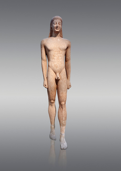 Naxian marble Ancient Greek Archaic statue of a kouros, found in Melos, circa 550 BC, Athens National Archaeological Museum. Cat no 1558.  Against grey.<br /> <br /> The slenderness and delicate grace of the statue is typical of the Cctladic island of