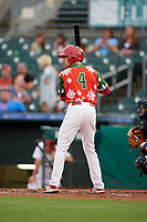 "Palm Beach Cardinals right fielder Thomas Spitz (8) at bat during a game against the Charlotte Stone Crabs on July 22, 2017 at Roger Dean Stadium in Palm Beach, Florida.  The Cardinals wore special ""Ugly Sweater"" jerseys for Christmas in July.  Charlotte defeated Palm Beach 5-2.  (Mike Janes/Four Seam Images)"
