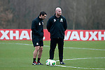 Cardiff - UK - 19th March 2013 : John Hartson (right),  Wales national team forwards coach with the Wales football squad during training at the Vale Hotel and Resort pitch ahead of their international with Scotland at the weekend.