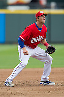 Round Rock Express third baseman Mike Olt #20 on defense against the Omaha Storm Chasers in the Pacific Coast League baseball game on April 7, 2013 at the Dell Diamond in Round Rock, Texas. Omaha beat Round Rock 5-2, handing the Express their first loss of the season. (Andrew Woolley/Four Seam Images).