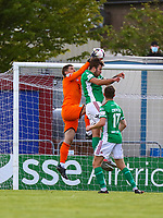 Sean Barron of Cobh Ramblers with George Heaven of Cork City.<br /> <br /> Cobh Ramblers v Cork City, SSE Airtricity League Division 1, 28/5/21, St. Colman's Park, Cobh.<br /> <br /> Copyright Steve Alfred 2021.