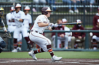 Cade Swisher (11) of the Virginia Tech Hokies follows through on his swing against the Georgia Tech Yellow Jackets at English Field on April 17, 2021 in Blacksburg, Virginia. (Brian Westerholt/Four Seam Images)