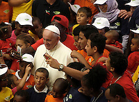 Papa Francesco posa per un selfie con un gruppo di bambini al termine dell'udienza generale del mercoledi' in aula Paolo VI, Citta' del Vaticano, 3 agosto 2016.<br /> Pope Francis poses for a selfie picture with a group of children at the end of his weekly general audience in the Paul VI hall at the Vatican, 3 August 2016.<br /> UPDATE IMAGES PRESS/Isabella Bonotto<br /> <br /> STRICTLY ONLY FOR EDITORIAL USE