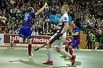 GER - Muelheim an der Ruhr, Germany, February 05: During the FinalFour final men hockey match between Rot-Weiss Koeln (whize) and Mannheimer HC (blue) on February 5, 2017 at innogy Sporthalle in Muelheim an der Ruhr, Germany. (Photo by Dirk Markgraf / www.265-images.com) *** Local caption *** Fabian Pehlke #32 of Mannheimer HC celebrates after scoring the leading goal 1-0, Fabian Pehlke #32 of Mannheimer HC wurde als bester Spieler des Turniers ausgezeichnet