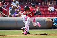 Carolina Mudcats manager Joe Ayrault (33) slaps hands with Isan Diaz (6) as he rounds the bases after hitting a 2-run home run against the Winston-Salem Dash at Five County Stadium on May 14, 2017 in Zebulon, North Carolina.  The Mudcats walked-off the Dash 11-10.  (Brian Westerholt/Four Seam Images)