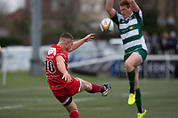 Brendan Cope of Jersey Reds during the Championship Cup Quarter final match between Ealing Trailfinders and Jersey Reds at Castle Bar , West Ealing , England  on 22 February 2020. Photo by Alan  Stanford / PRiME Media Images.