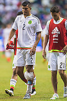 Mexico's defender Francisco Rodriguez (2) leaves the pitch at the conclusion of an international friendly at the Alamodome, Wednesday, April 15, 2015 in San Antonio, Tex. USA defeated Mexico 2-0. (Mo Khursheed/TFV Media via AP Images)