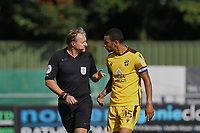 Referee Trevor Kettle has words with Craig Eastmond of Sutton United during Sutton United vs Stevenage, Sky Bet EFL League 2 Football at the VBS Community Stadium on 11th September 2021