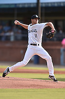 Asheville Tourists starting pitcher Konner Wade #11 delivers a pitch during a game against the Charleston RiverDogs at McCormick Field July 29, 2014 in Asheville, North Carolina. The RiverDogs defeated the Tourists 9-3. (Tony Farlow/Four Seam Images)