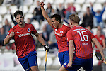 GER - Mannheim, Germany, October 02: During the men hockey match between Mannheimer HC (red) and HTC Uhlenhorst Muehlheim (white) on October 2, 2016 at Mannheimer HC in Mannheim, Germany. Final score 4-4 (HT 1-3). (Photo by Dirk Markgraf / www.265-images.com) *** Local caption *** Gonzalo Peillat #2 of Mannheimer HC, Danny Nguyen #22 of Mannheimer HC, Luca Mueller #16 of Mannheimer HC