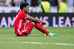 David Alaba of FC Bayern Munich reacts after losing the 2016-17 UEFA Champions League Quarter-finals second leg match between Real Madrid and FC Bayern Munich at the Estadio Santiago Bernabeu on 18 April 2017 in Madrid, Spain. Photo by Diego Gonzalez Souto / Power Sport Images