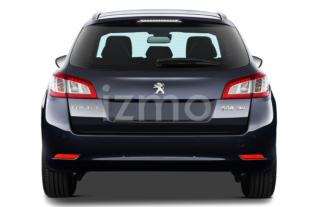 Straight rear view of 2012 Peugeot 508 SW Allure Wagon Stock Photo