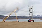Plane ladders at the Qikiqtarjuaq airport in Northern Canada. Qikiqtarjuaq is located in Nunavut on Baffin Island.