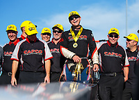 Sep 23, 2018; Madison, IL, USA; NHRA top fuel driver Steve Torrence celebrates with crew after winning the Midwest Nationals at Gateway Motorsports Park. Mandatory Credit: Mark J. Rebilas-USA TODAY Sports