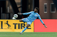 FOXBOROUGH, MA - MAY 12: Rashid Nuhu #24 of Union Omaha clears the ball during a game between Union Omaha and New England Revolution II at Gillette Stadium on May 12, 2021 in Foxborough, Massachusetts.