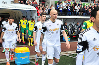 Swansea v Norwich, Liberty stadium Swansea, Saturday 29th March 2014<br /> <br /> Photographs by Amy Husband<br /> <br /> Swansea's team leading out against Norwich City