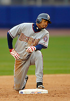 3 April 2006: Brandon Watson, outfielder for the Washington Nationals, rests safely at second base during Opening Day play against the New York Mets at Shea Stadium, in Flushing, New York. The Mets defeated the Nationals 3-2 to lead off the 2006 MLB season...Mandatory Photo Credit: Ed Wolfstein Photo..