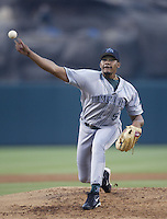 Jorge Sosa of the Tampa Bay Devil Rays pitches during a 2002 MLB season game against the Los Angeles Angels at Angel Stadium, in Los Angeles, California. (Larry Goren/Four Seam Images)