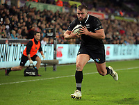 Dmitri Arhip of the Ospreys scores a try during the Guinness PRO14 match between Ospreys and Dragons at The Liberty Stadium, Swansea, Wales, UK. Friday 27 October 2017