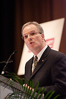 Montreal (QC) CANADA - May 16 2011 - <br />Pierre Morin, top ranking leader of ALCOA in Canada, adress the Canadian Club of Montreal