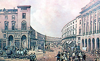 London: Regent St., The Quadrant, 1852, after removal of Colonnades & Balconies in 1848.