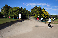 Jang Hyun Lee plays out of a bunker on the 12th during the final against Daniel Hillier. Final day of the Jennian Homes Charles Tour / Brian Green Property Group New Zealand Super 6s at Manawatu Golf Club in Palmerston North, New Zealand on Sunday, 8 March 2020. Photo: Dave Lintott / lintottphoto.co.nz