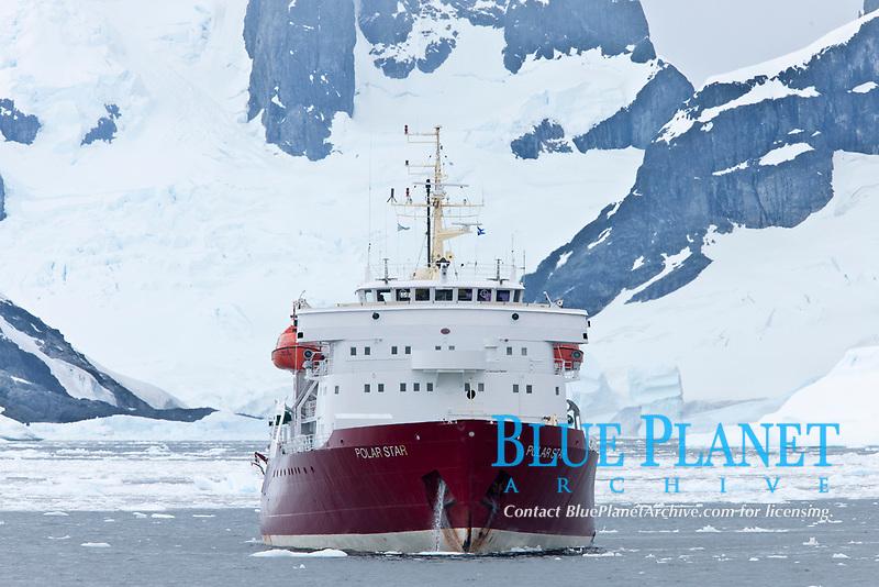 Icebreaker M/V Polar Star, anchored near Peterman Island, Antarctica.