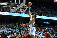 CHAPEL HILL, NC - NOVEMBER 01: Garrison Brooks #15 of the University of North Carolina makes a layup during a game between Winston-Salem State University and University of North Carolina at Dean E. Smith Center on November 01, 2019 in Chapel Hill, North Carolina.