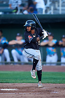 Missoula Osprey Jose Reyes (20) at bat during a Pioneer League game against the Idaho Falls Chukars at Melaleuca Field on August 20, 2019 in Idaho Falls, Idaho. Idaho Falls defeated Missoula 6-3. (Zachary Lucy/Four Seam Images)