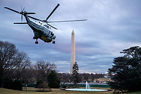 Marine One, with US President Joe Biden aboard, lifts off the South Lawn of the White House in Washington, DC, USA, 16 February 2021. This evening President Biden is traveling to Minneapolis to participate in a town hall meeting where he will take questions on the pandemic and the economy.<br /> CAP/MPI/RS<br /> ©RS/MPI/Capital Pictures