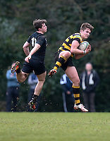 Saturday 18th February 2017 | CCB vs RBAI<br /> <br /> Joe Finnegan beats Ben Power to this high ball during the Ulster Schools' Cup Quarter Final clash between Campbell College Belfast and RBAI at Foxes Field, Campbell College, Belmont, Belfast, Northern Ireland.<br /> <br /> Photograph by John Dickson | www.dicksondigital.com