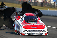Aug. 2, 2014; Kent, WA, USA; NHRA funny car driver Bob Tasca III during qualifying for the Northwest Nationals at Pacific Raceways. Mandatory Credit: Mark J. Rebilas-