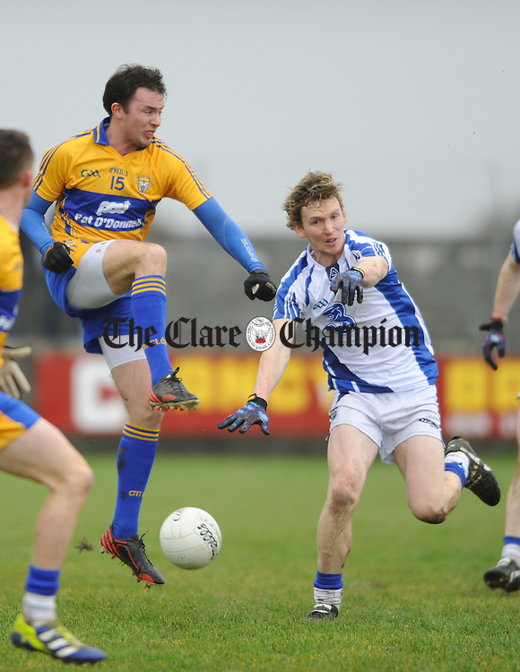 David Tubridy of Clare in action against Conor Phelan of Waterford during their national league game at Miltown Malbay. Photograph by John Kelly.