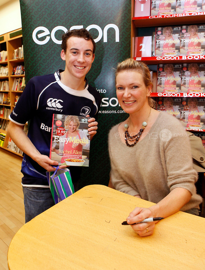 """*** NO FEE PIC ***.01/10/2011.Eason Ireland's leading retailer of books stationery, magazines & lots more hosted a book sigining by best selling cookery writer & TV cook Rachel Allen who signed copies of her new book """" Easy Meals"""" for fan Aaron Molloy from Walkinstown.at Eason O' Connell St, Dublin..Photo: Gareth Chaney Collins"""