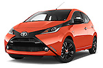 Stock pictures of low aggressive front three quarter view of a 2015 Toyota AYGO X-CITE 2WD MT 5 Door Micro Car 2WD Low Aggressive