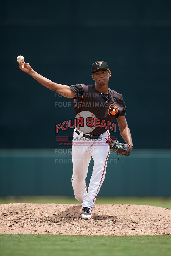 GCL Orioles pitcher Moises Nolasco (18) during a Gulf Coast League game against the GCL Braves on August 5, 2019 at Ed Smith Stadium in Sarasota, Florida.  GCL Orioles defeated the GCL Braves 4-3 in the second game of a doubleheader.  (Mike Janes/Four Seam Images)