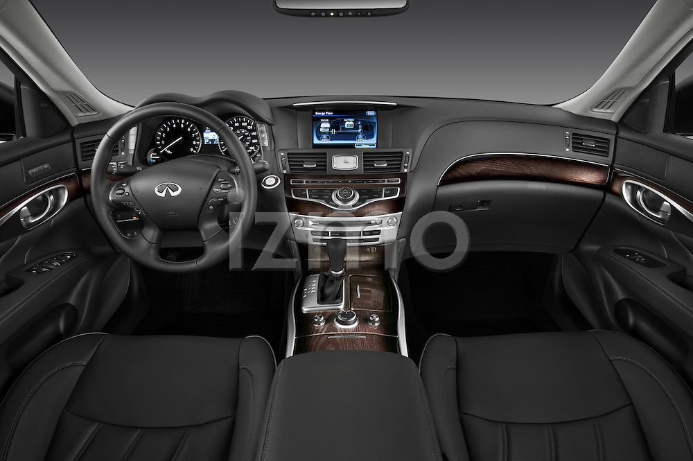Straight dashboard view of a 2012 Infiniti M Hybrid.