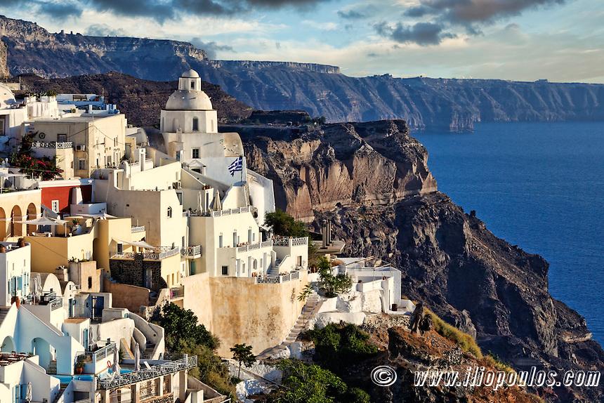 Fira is the capital of Santorini island, Greece