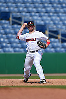 Louisville Cardinals infielder Zach Lucas (11) throws to first during a game against the Cal State Fullerton Titans on February 15, 2015 at Bright House Field in Clearwater, Florida.  Cal State Fullerton defeated Louisville 8-6.  (Mike Janes/Four Seam Images)