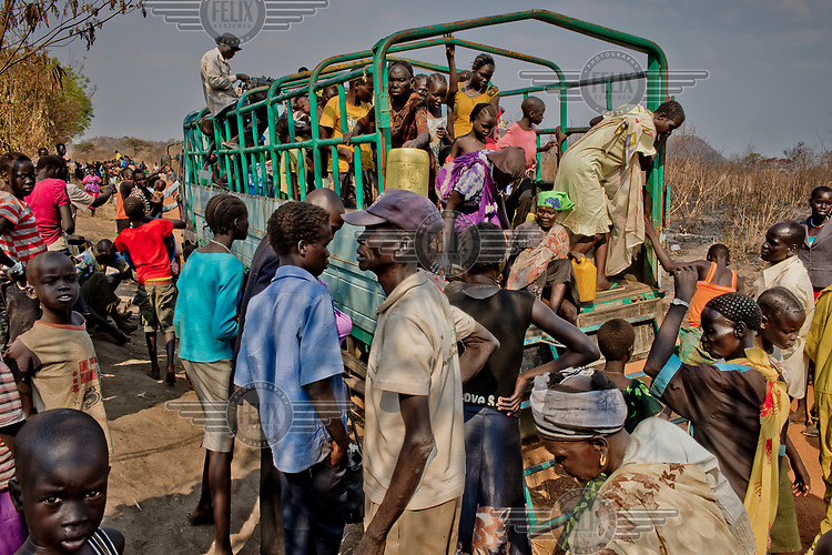 A truck arrives at the Nyumanzi settlement, a few kilometres from Dzaipi, where South Sudanese refugees are being resettled on plots of land.
