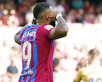 26th September 2021; Nou Camp, Barcelona, Spain: La Liga football, FC Barcelona versus Levante:  Memphis Depay celebrates after scoring for 1-0 in the 6th minute from a penalty kick