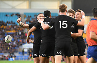 12th September 2021; Cbus Super Stadium, Robina, Queensland, Australia; Rugby International series, New Zealand versus Argentina:  All Blacks players celebrate Rieko Ioane's try.