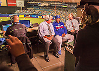 2 April 2016: Toronto Blue Jays baserunning and outfield coach and former Montreal Expo Tim Raines is interviewed in the broadcast booth during a pre-season exhibition series between the Blue Jays and the Boston Red Sox at Olympic Stadium in Montreal, Quebec, Canada. The Red Sox defeated the Blue Jays 7-4 in the second of two MLB weekend games, which saw a two-game series attendance of 106,102 at the former home on the Montreal Expos. Mandatory Credit: Ed Wolfstein Photo *** RAW (NEF) Image File Available ***