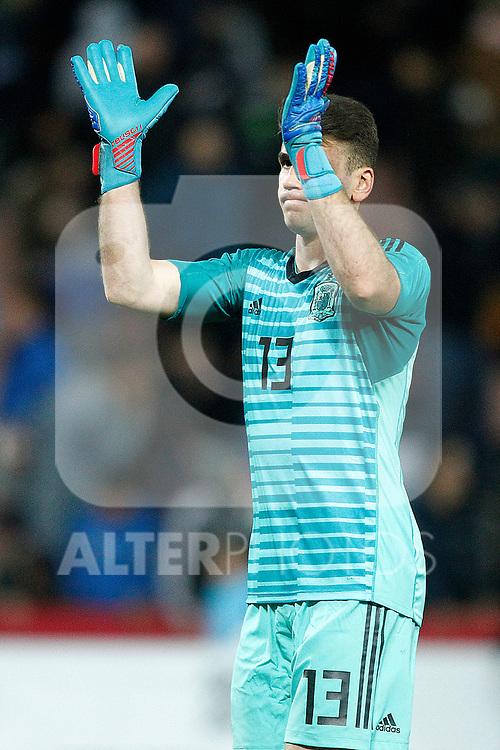 Spain's Unai Simon celebrates victory  during the International Friendly match on 21th March, 2019 in Granada, Spain. (ALTERPHOTOS/Alconada)