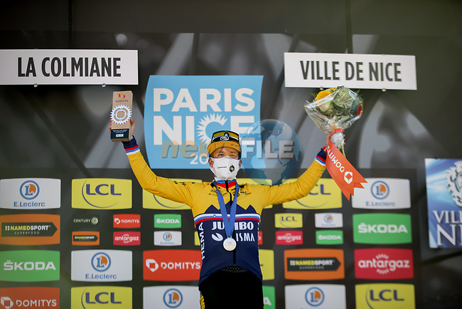 Race leader Slovenian Champion Primoz Roglic (SLO) Team Jumbo-Visma wins Stage 7 of Paris-Nice 2021, running 119.2km from Le Broc to Valdeblore La Colmiane, France. 13th March 2021.<br /> Picture: ASO/Fabien Boukla | Cyclefile<br /> <br /> All photos usage must carry mandatory copyright credit (© Cyclefile | ASO/Fabien Boukla)